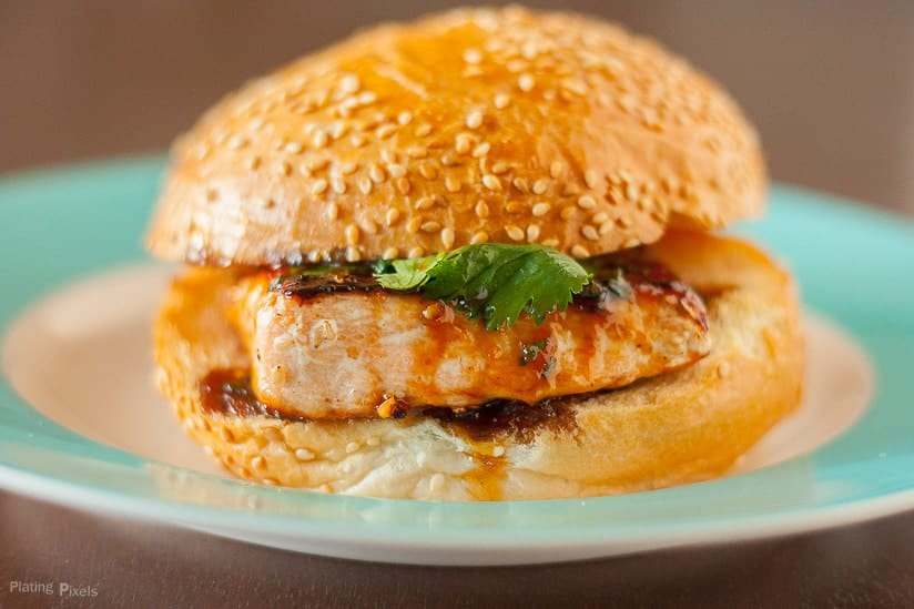 Sesame Salmon Burger with Apricot Soy Sauce -Plating Pixels