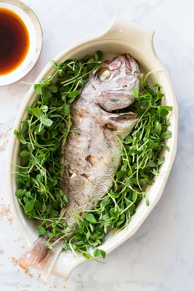 Soy sauce glazed whole steamed fish how to plating pixels for Low sodium fish sauce