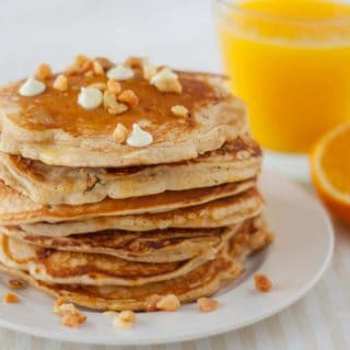 White Chocolate Chip Macadamia Nut Pancakes with Orange Butter