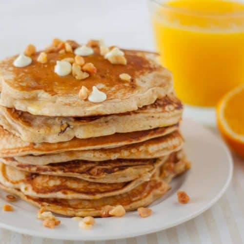 White Chocolate Chip Macadamia Nut Pancakes with Orange Butter - www.platingpixels.com
