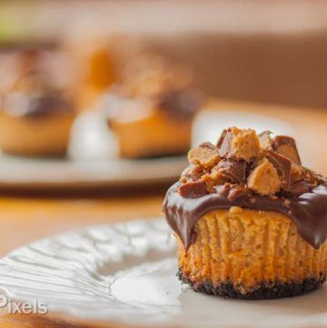 Reese's Peanut Butter Cup Mini Cheesecake Cupcakes - www.platingpixels.com
