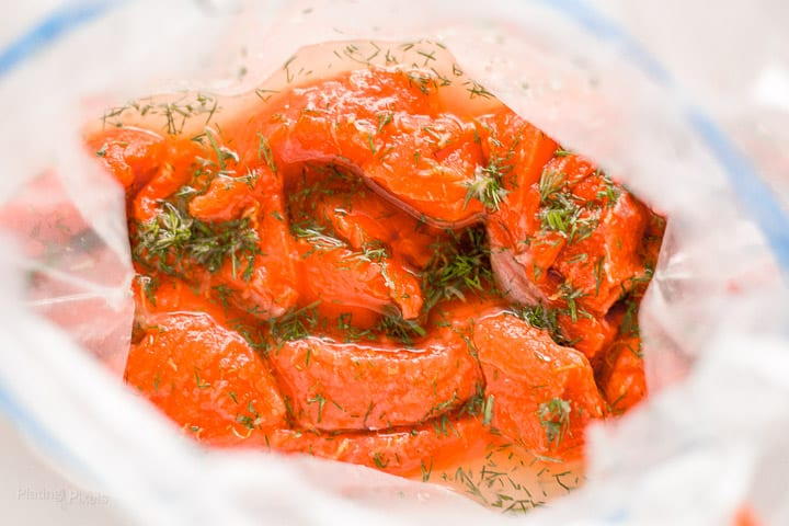 Salmon strips marinating in vinegar, lemon and dill marinade
