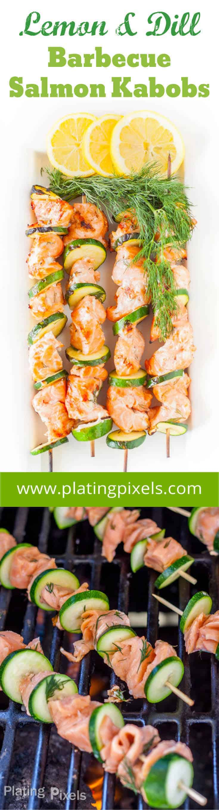 Grilled Salmon Kabobs with Lemon Dill Marinade is a healthy grilled salmon recipe that\'s loaded with flavor. A simple vinegar, lemon juice, and lemon zest marinade add a nice zing to salmon with less than 30 minutes of marinating time. You\'ll stand out at you next grilling party with these unique fish kabobs. #salmon #kabobs #kebobs #grilled #salmonkabob