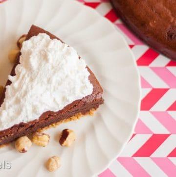 Double Chocolate Hazelnut Fudge Cake recipe - www.platingpixels.com