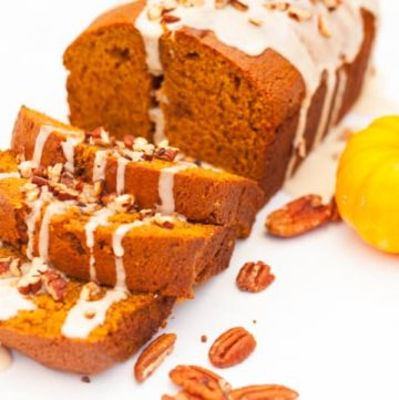 Pumpkin Bread with Maple Glaze - www. platingpixels.com #thanksgiving #pumpkinbread #recipe