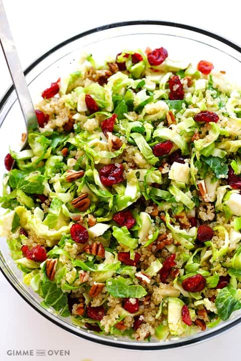 Thanksgiving Recipe Roundup featured on www.PlatingPixels.com - Brussels Sprouts, Cranberry and Quinoa Salad