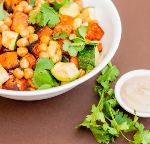 Mediterranean Roasted Sweet Potato and Zucchini Salad - www.platingpixels.com