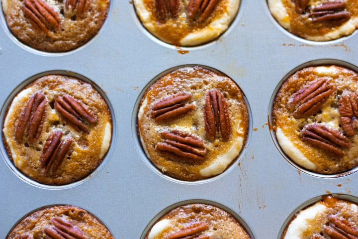 Brown Sugar Caramel Pecan Cookie Cups in a muffin pan