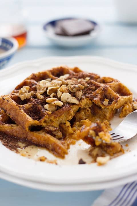Thanksgiving Recipe Roundup featured on www.PlatingPixels.com - Gluten Free Sweet Potato Waffles