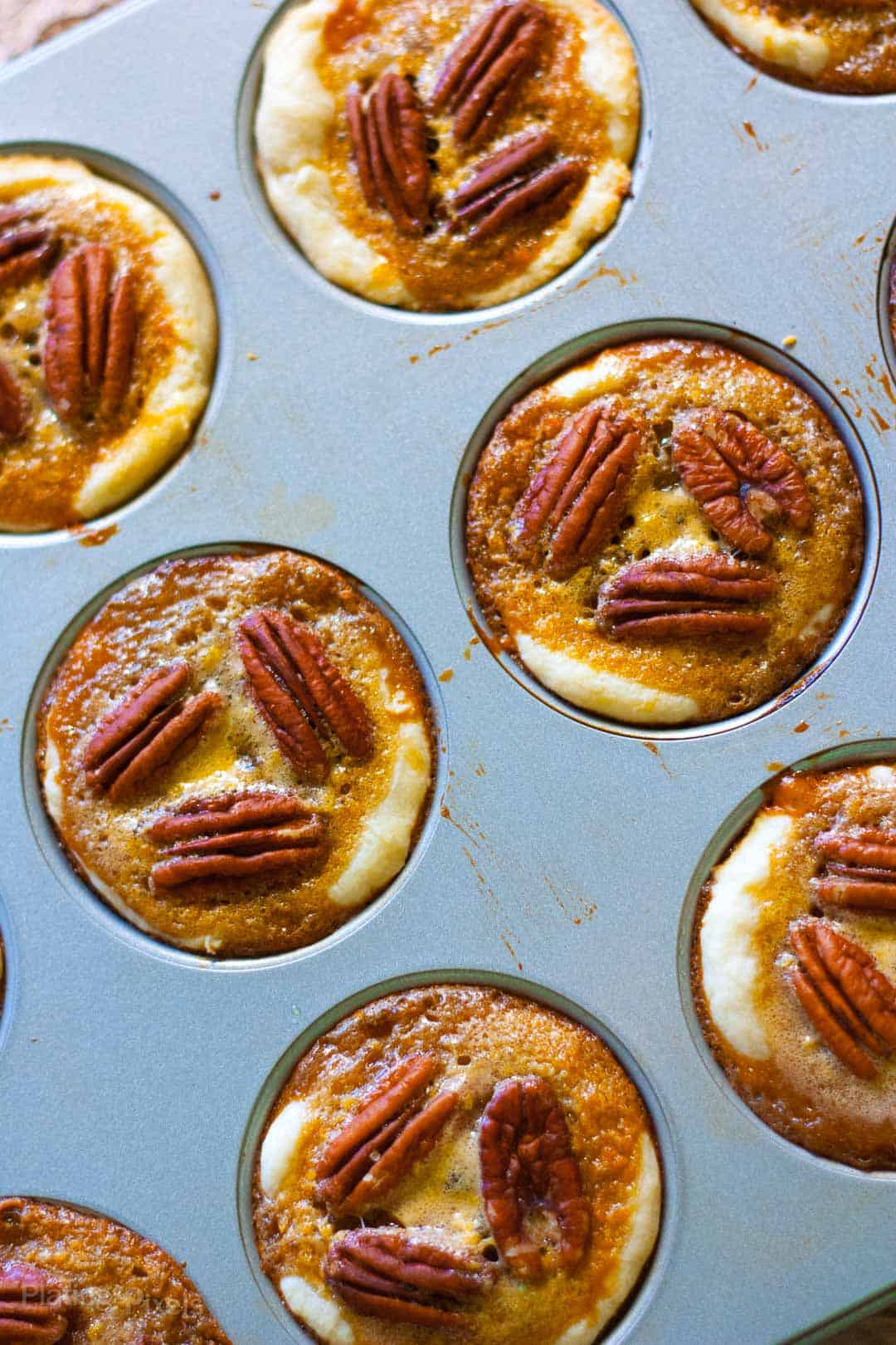 Just baked Pecan Tassies in a muffin pan