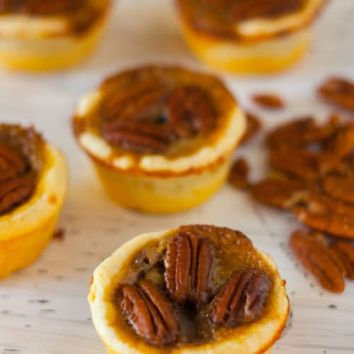 Pecan Tassies with Brown Sugar Caramel Filling