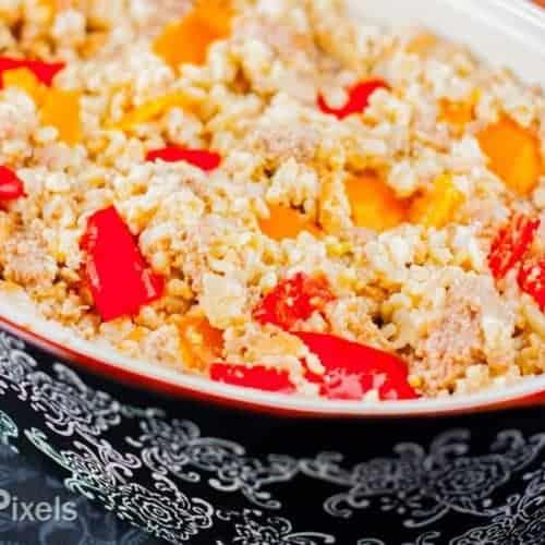 Creamy Bell Pepper and Turkey Rice Casserole recipe - www.platingpixels.com