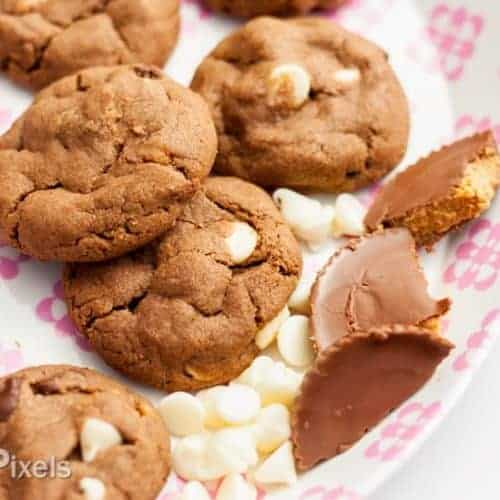 Peanut Butter + White Chocolate + Reese's Peanut Butter Cup Cookies