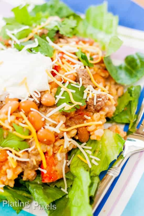 Mexican Bean and Rice Casserole Salad - www.platingpixels.com