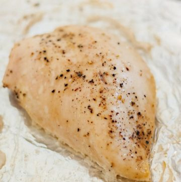 Seasoned Moist Baked Chicken Breast in a baking dish