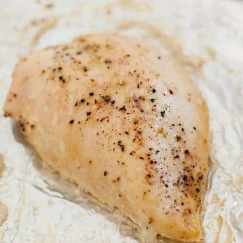 Seasoned Moist Baked Chicken Breast in a baking dish