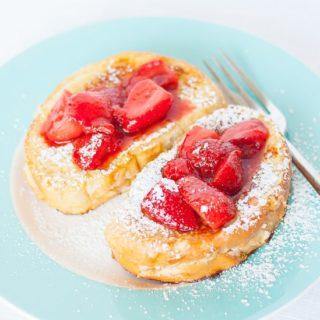 Banana Cream Cheese Stuffed French Toast with Strawberries