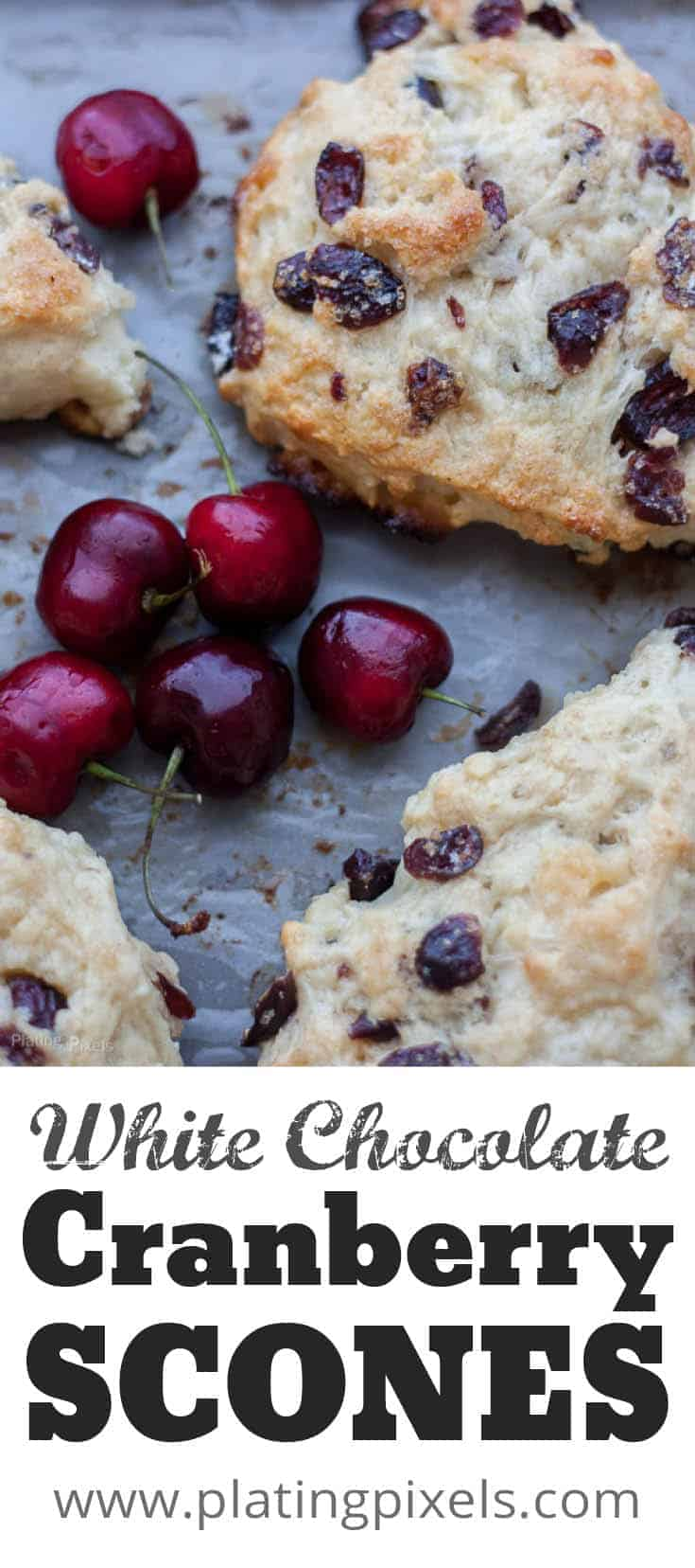 Decadent White Chocolate Cranberry Scones recipe with cherry yogurt baked right in. Moist and flaky with white chocolate and dried cranberries add a delicious sweet texture. A great for Mother\'s Day brunch or breakfast recipe. #scones #cranberryscone #pastry