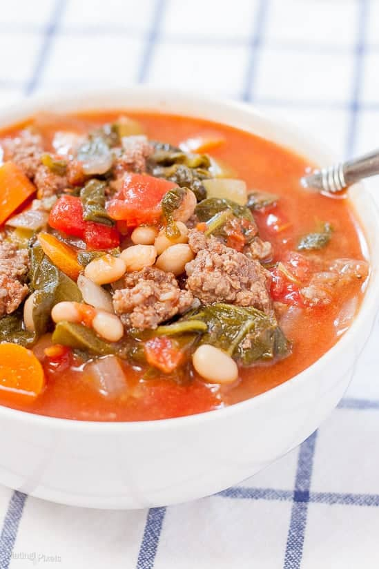 Hearty Tomato Basil Beef Stew recipe - www.platingpixels.com