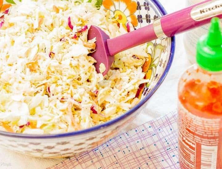 Honey Sriracha Coleslaw recipe - www.platingpixels.com