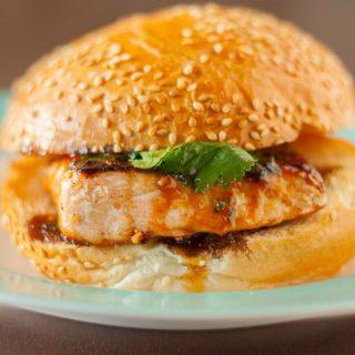 Sesame Salmon Burger with Apricot Soy Sauce Glaze