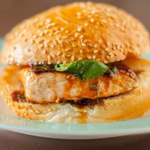 Sesame Salmon Burger with Apricot Soy Sauce Glaze