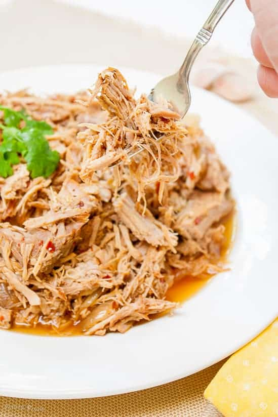 A close up of Carolina Style Slow Cooker Pulled Pork on a fork