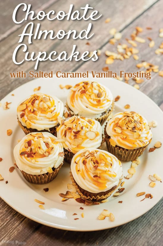 Chocolate Almond Cupcakes with Salted Caramel Vanilla Buttercream recipe - www.platingpixels.com