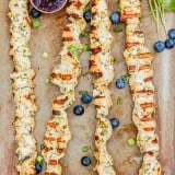 Orange Herb Chicken Kabobs with Blueberry Balsamic Sauce - www.platingpixels.com