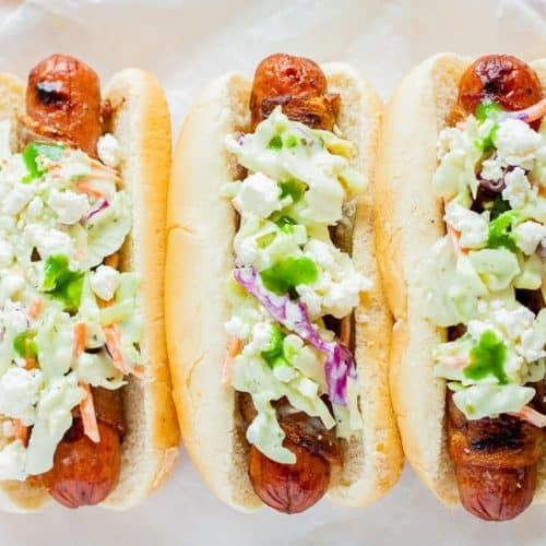 Bacon Wrapped Dogs with Habanero Coleslaw
