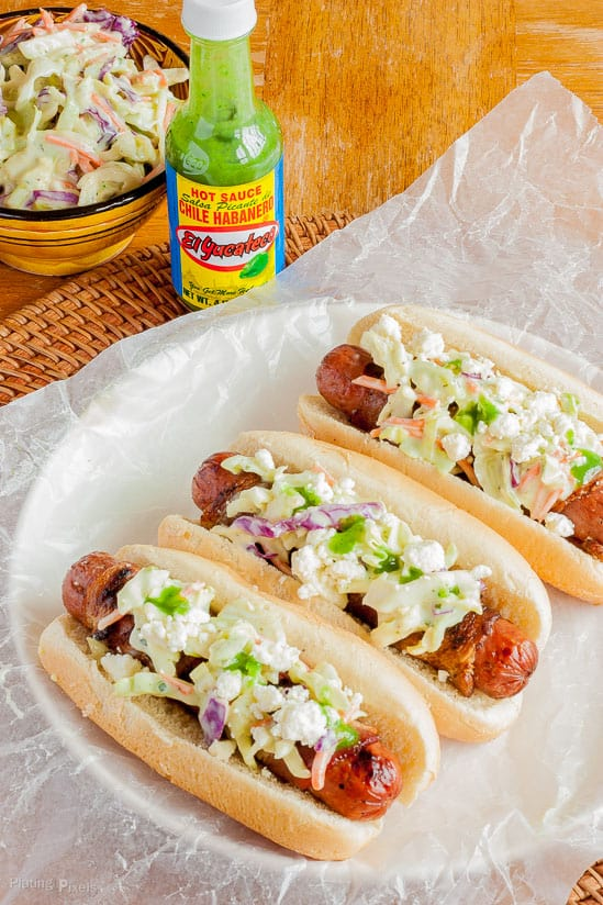 Bacon Wrapped Dogs with Habanero Coleslaw recipe - www.platingpixels.com