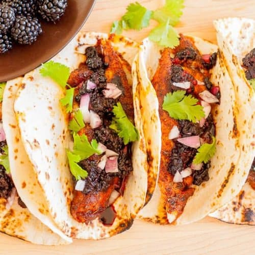 Blackened Fish Tacos with Blackberry Balsamic Salsa