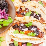 Blackened Fish Tacos with Blackberry Balsamic Salsa recipe - www.platingpixels.com