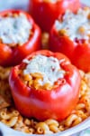 Chicken Pasta Stuffed Bell Peppers recipe - www.platingpixels.com