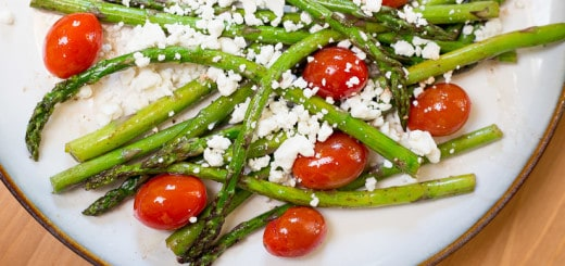 Roasted Asparagus and Tomato Salad with Balsamic Goat Cheese recipe - www.platingpixels.com