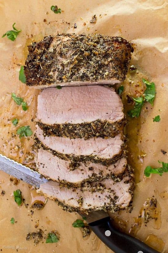 Garlic Herbed Pork Loin with Mushroom Wine Sauce recipe - www.platingpixels.com