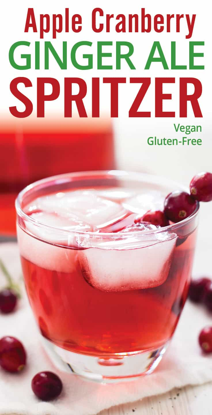 Apple Cranberry Ginger Ale Spritzer is an easy holiday or Christmas cocktail. Ginger ale, cranberry juice, rosemary infused apple vodka. This festive drink will brighten up any holiday gathering. #holidaycocktail #spritzer #cranberrycocktail