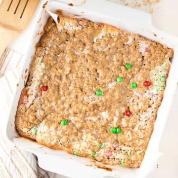 Chewy Coconut Chocolate Oatmeal Bars in a white baking dish