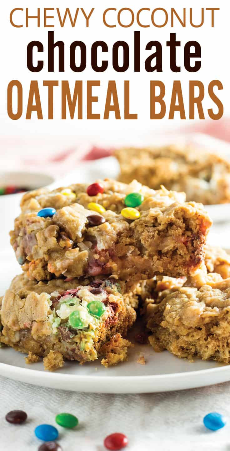 Chewy Coconut Chocolate Oatmeal Bars. Sweet chewy coconut layer baked into a moist oatmeal style dessert bar. Butter, brown sugar and oats with coconut, sweetened condensed milk and chocolate marbled in. Delicious and easy! #oatmealbars #coconutbars #oatmeal