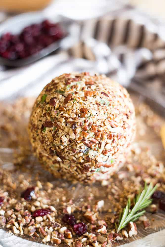 A close up of Craisins White Cheddar Cheese Ball covered in pecans