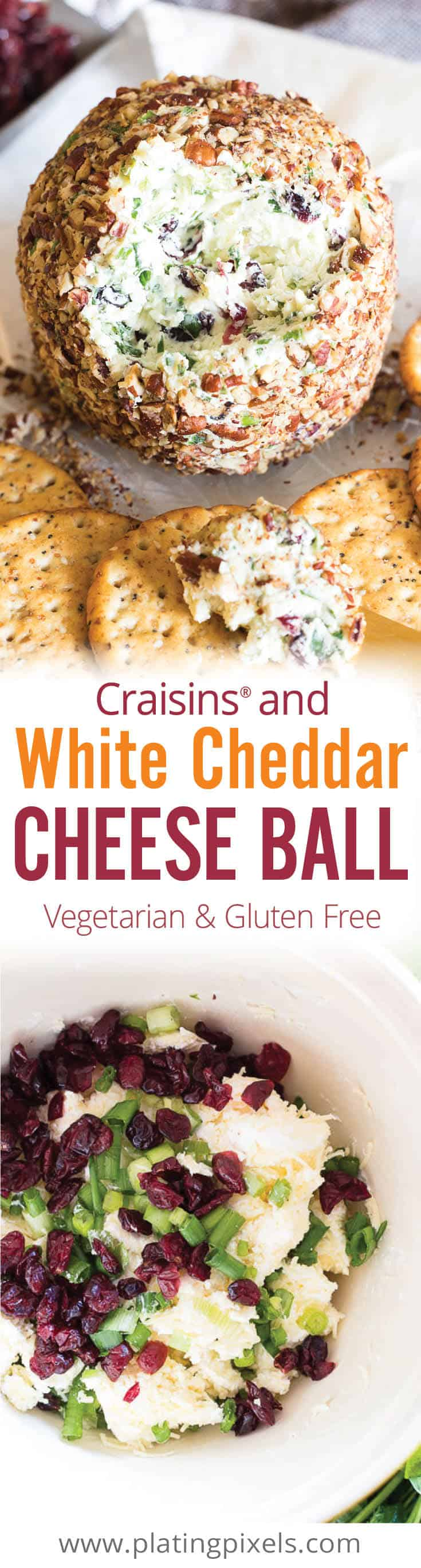 Quick and easy gluten free party appetizer. Craisins White Cheddar Cheese Ball made with white cheddar, cream cheese, dried cranberries, herb, spices and toasted pecans. Plus you'll learn a quick trick to soften butter or cream cheese. #platingpixels #appetizers #cheese #cheeseball #christmasrecipes