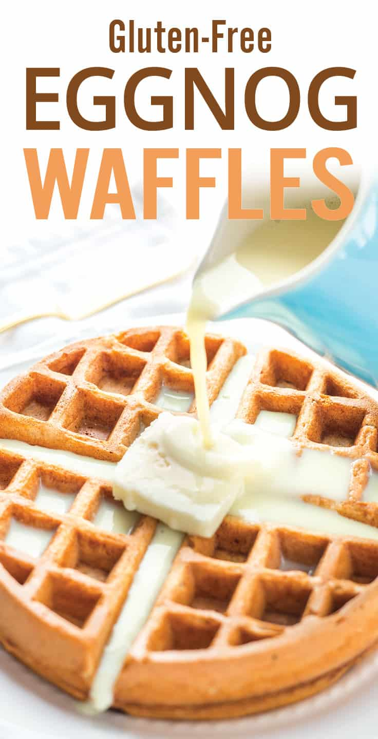 Easy gluten free Eggnog Waffles. Holiday themed breakfast recipe with oat flour waffles, eggnog, nutmeg, cinnamon and banana. A gluten-free and healthy treat. #waffles #eggnog #holidaybreakfast