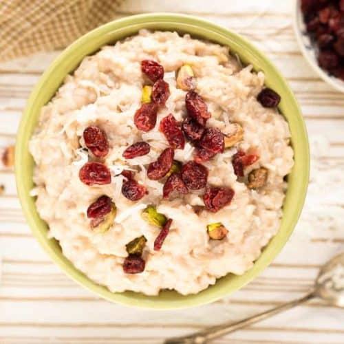 Vegan Coconut Rice Pudding with Cranberries and Pistachios recipe - www.platingpixels.com