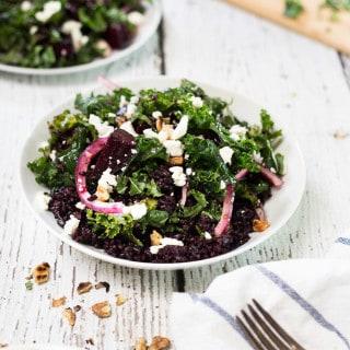Black Rice, Roasted Beet and Kale Salad