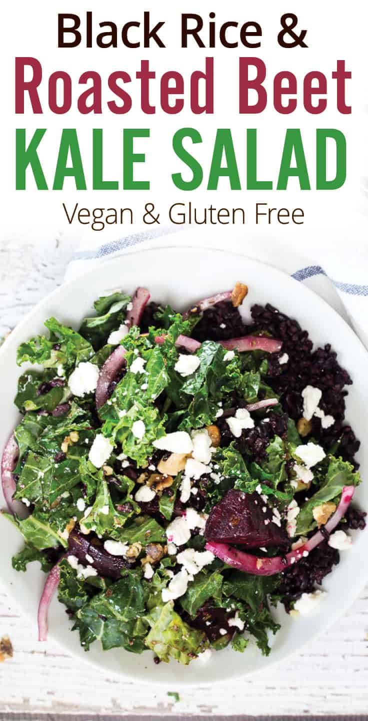 Roasted Beet, Kale and Black Rice Salad. Healthy and balanced kale, roasted beet and black rice salad with earthy, nutty flavors. Red onions, toasted walnuts plus a mustard cider vinaigrette for bold flavors. A healthy salad that\'s vegan and gluten-free. #kalesalad #beetsalad