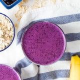 Blueberry Peanut Butter Protein Smoothie recipe - www.platingpixels.com