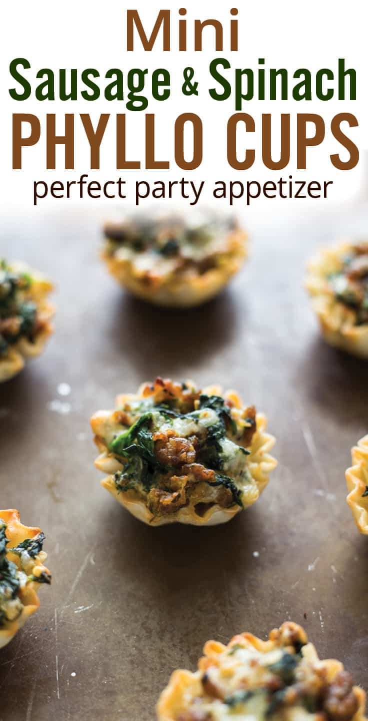 Mini Parmesan Spinach Phyllo Cup Appetizers make entertaining easy. Phyllo dough with Parmesan spinach dip, bell pepper, artichoke heart and Parmesan cheese. | Easy Party Appetizers | #appetizers #spinachandartichoke #phyllocups