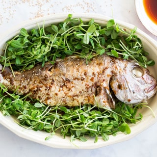 Soy Sauce Glazed Whole Steamed Fish (How-to)