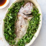 Soy Sauce Glazed Whole Steamed Fish recipe - www.platingpixels.com
