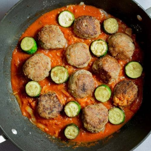 Zucchini and Turkey Meatball Skewers